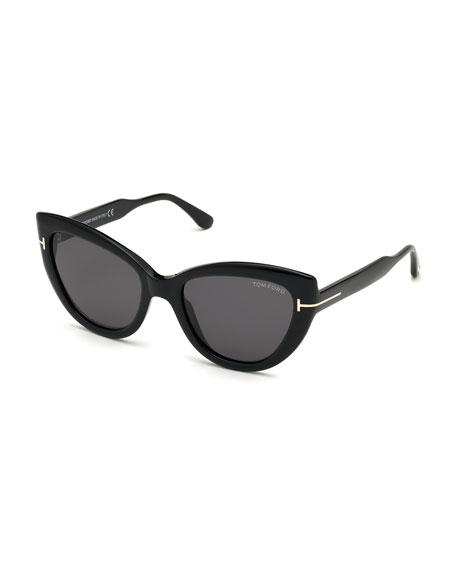 Tom Ford Anya Cat-eye Polarized Sunglasses In Black/gray