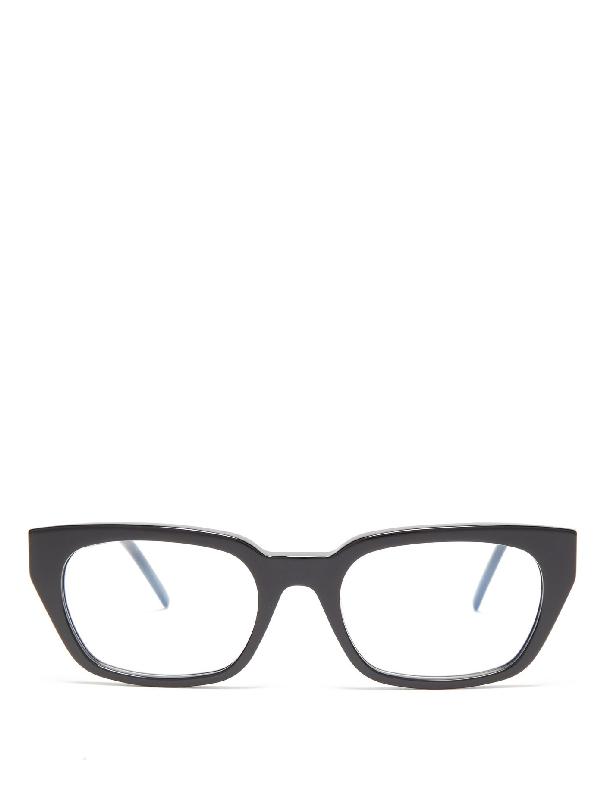 Saint Laurent Monogram-logo Rectangular Acetate Glasses In Silver