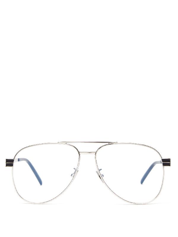 Saint Laurent Aviator Metal Glasses In Silver