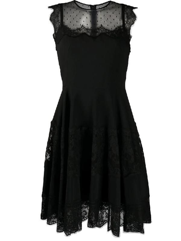 Dolce & Gabbana Sleeveless Lace Flutter Mini Dress In Black