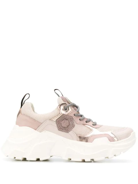 Moa Master Of Arts Mesh Panel Sneakers In Pink