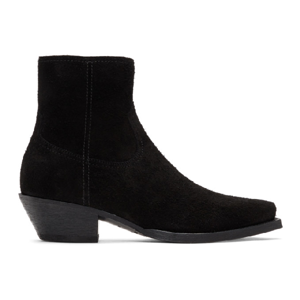 Saint Laurent Lukas Suede Western Ankle Boots In 1000 Black
