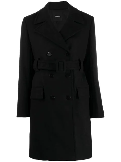 Theory Belted Double Breasted Coat In 001 Black