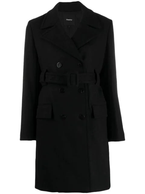 Theory Belted Double Breasted Coat In Black