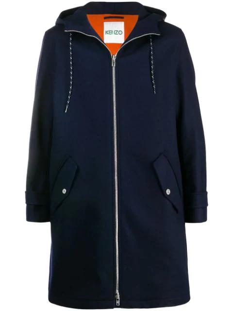Kenzo Loose-fit Hooded Coat In Marine