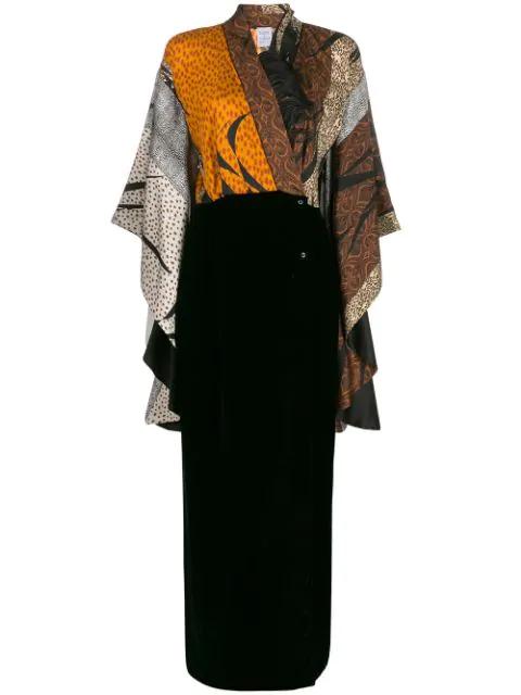Sara Roka Scarf-panelled Surplice Dress In Black