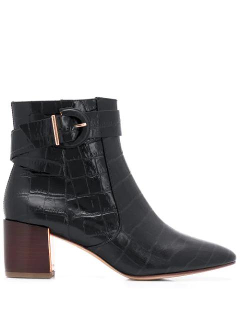 Sophia Webster Croc Embossed Ankle Boots In Black