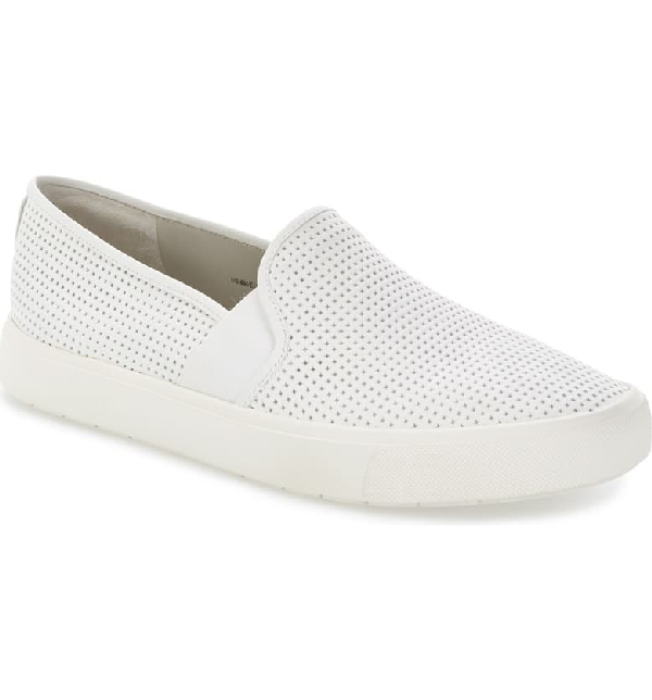 Vince Blair 5 Perforated Slip-On Sneakers In Optic White