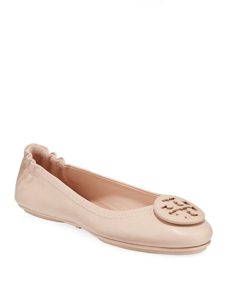 Tory Burch Minnie Travel Leather Ballet Flats In Sand
