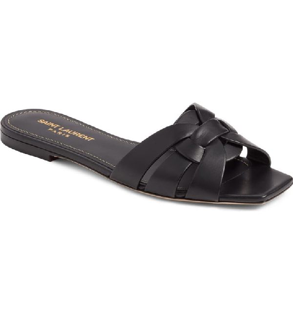 Saint Laurent Tribute Slide Sandal In Black Leather