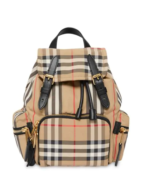 Burberry Small Vintage Check Icon Stripe Backpack In Neutrals