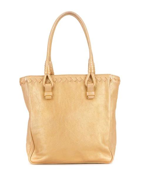 Bottega Veneta Intrecciato Weave Detail Tote In Gold