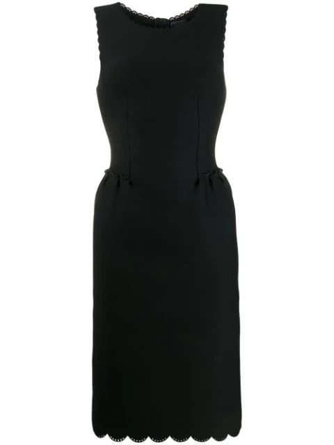 Lanvin 2014 Scalloped Details Fitted Dress In Black