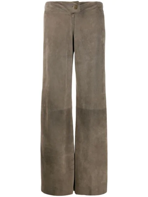 Pre-owned A.n.g.e.l.o. Vintage Cult 1990s Textured Wide-legged Trousers In Grey