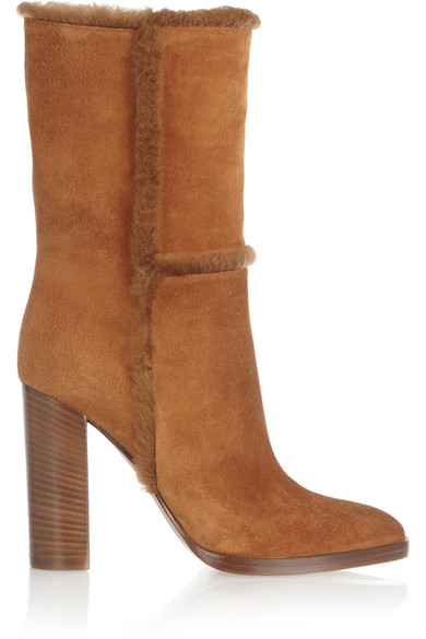 Gianvito Rossi Woman Shearling-Trimmed Suede Boots Camel In Brown