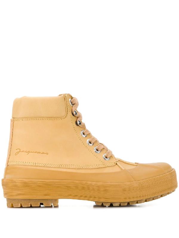Jacquemus Les Meuniers Hautes Rubber-Trimmed Leather Ankle Boots In Neutrals