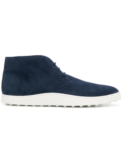 Tod's Blue Suede Desert Boots