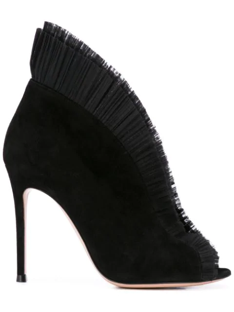 Gianvito Rossi Ginevra Tulle & Suede Ankle Boots In Black