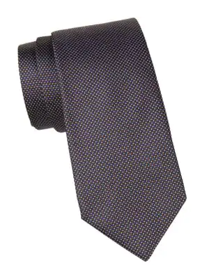 Corneliani Men's Dash Print Silk Tie In Grey