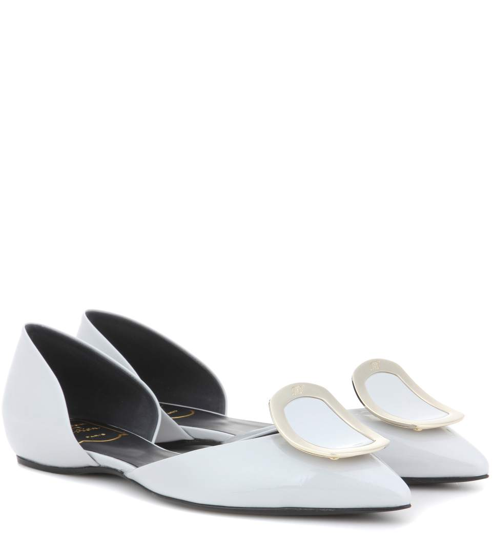 Roger Vivier Dorsay Sexy Choc Patent Leather Ballerinas In White