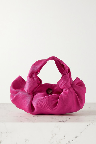 The Row Ascot Two Washed Satin Hobo Bag In Magenta