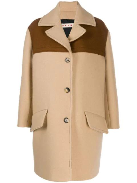 Marni Single Breasted Coat In Neutrals