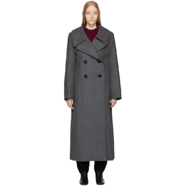 Lemaire Double-Breasted Melton Coat In 968 Dark Gr