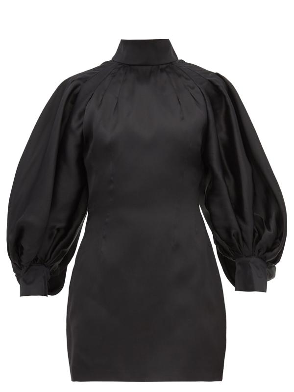 Elzinga Balloon-sleeve Silk-organza Mini Dress In Black