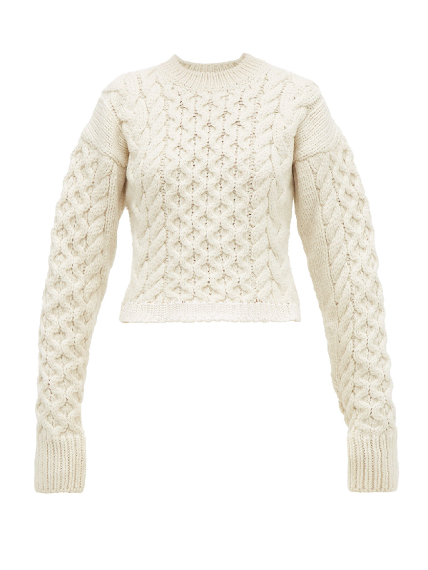 Joseph Cable-knit Wool-blend Sweater In Cream