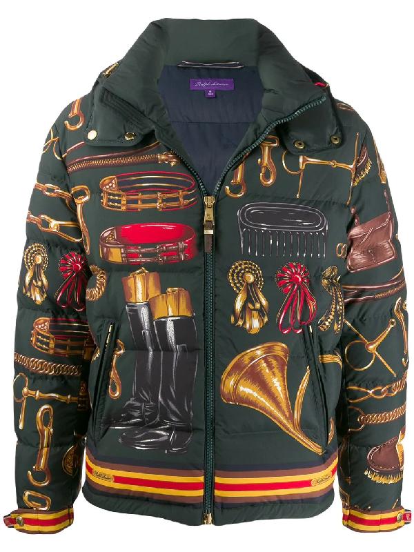 Ralph Lauren Skidmore Equine Kit-Print Down Puffer Jacket In Green