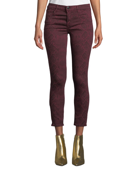 J Brand 835 Mid-Rise Cropped Snake-Print Skinny Jeans In Red Pattern