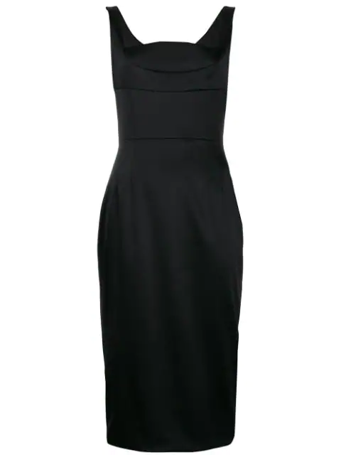 Dolce & Gabbana Dutchess Satin Midi Dress In Black