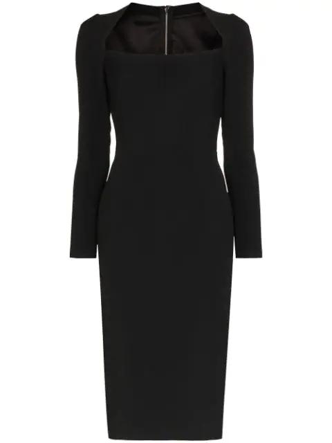 Dolce & Gabbana Scoop Neck Fitted Midi Dress In Black