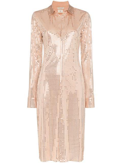 Bottega Veneta Mirror Sequinned Shirt Dress In Neutrals