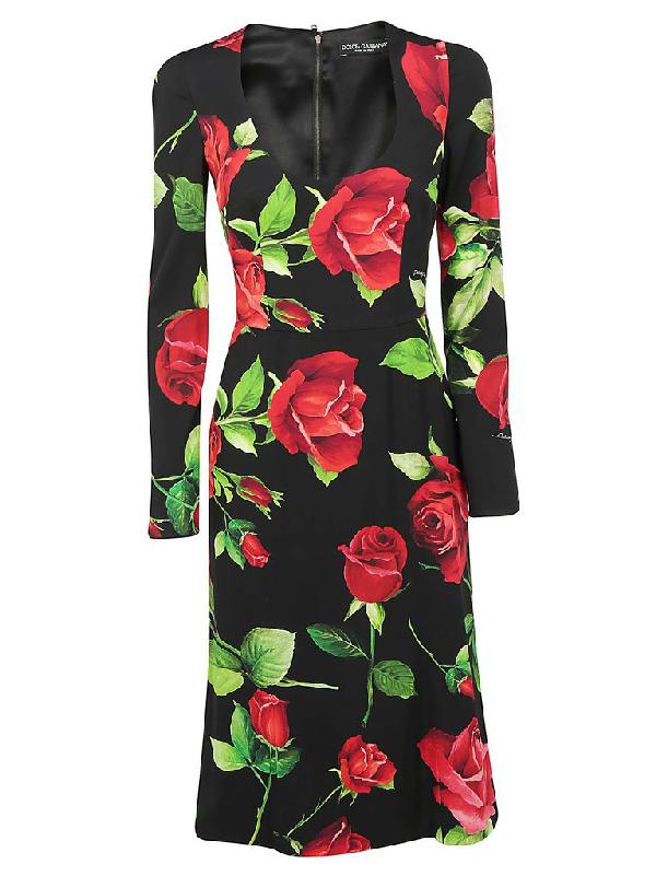 Dolce & Gabbana Rose Print Fitted Dress In Multi