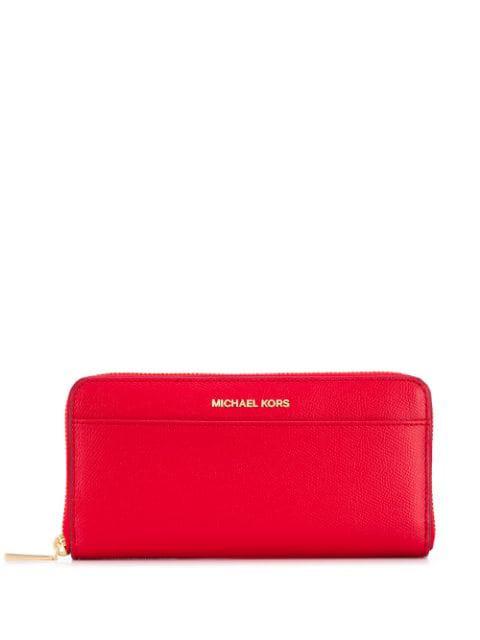 Michael Michael Kors Jet Set Zip Continental Wallet In 683 Bright Red