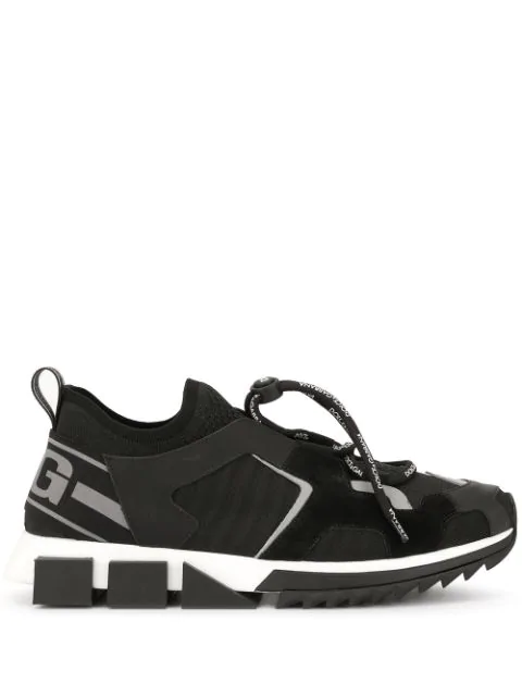 Dolce & Gabbana Dolce And Gabbana Black Lace-Up Block Sole Sneakers