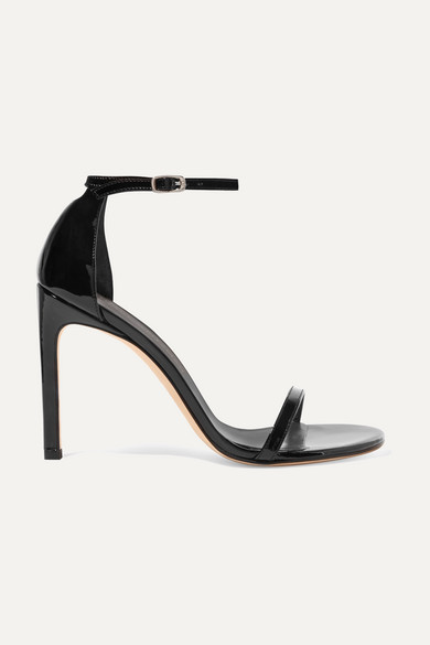 Stuart Weitzman Nudistsong Leather Ankle Strap Sandals In Black