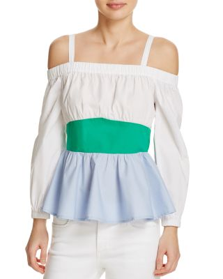 4a2f8c6265c Endless Rose Cold Shoulder Color-Block Top - 100% Exclusive In White Green