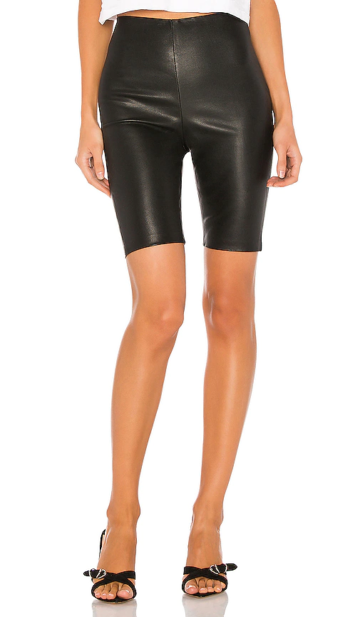 Grlfrnd Carter Leather Bicycle Shorts In Black