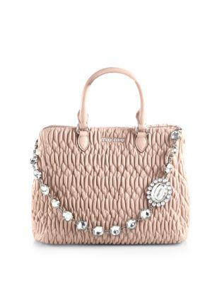 Miu Miu Nappa Crystal Matelasse Leather Satchel In Cammeo