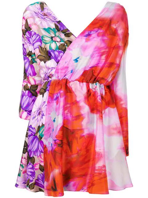 Msgm Short Printed Dress In Multicolour