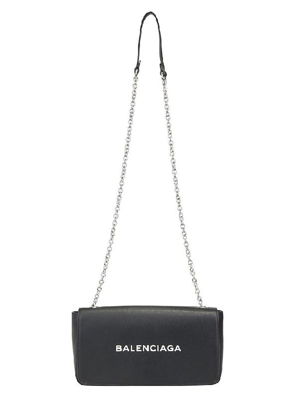 Balenciaga Logo Chain Strap Shoulder Bag In Black