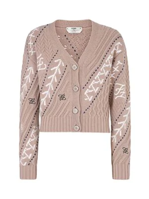 Fendi Karligraphy Cable-knit Wool & Cashmere Cardigan In Liberty Beige Multi