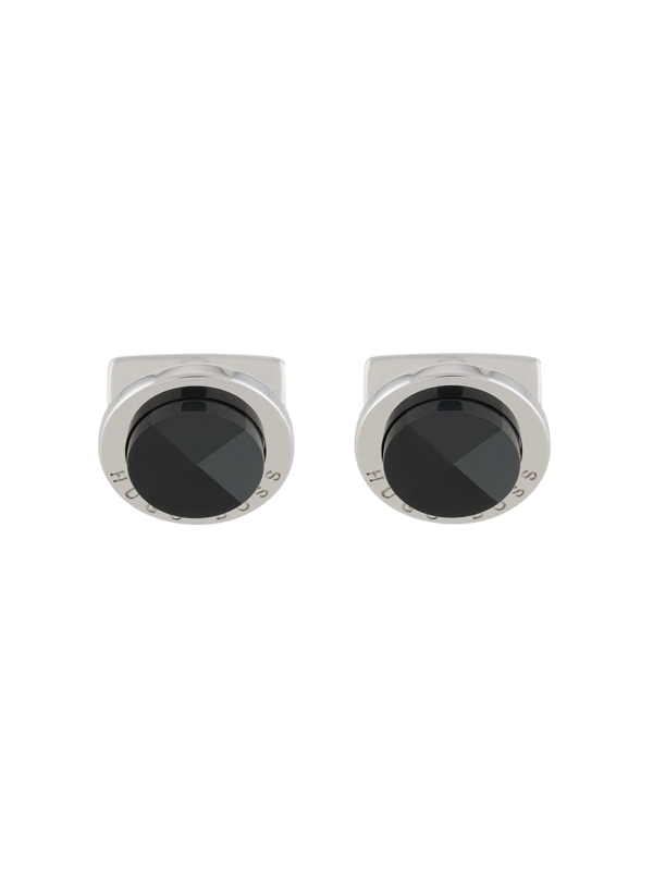 Hugo Boss Malvin Round Enamel Logo Cufflinks In Black