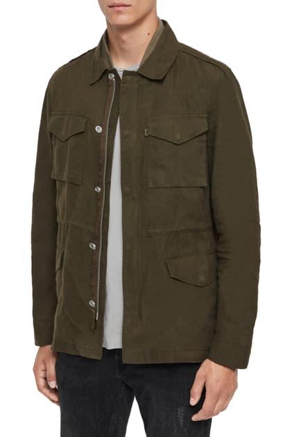 Allsaints Baynes Waxed Jacket In Khaki/ Beech Green