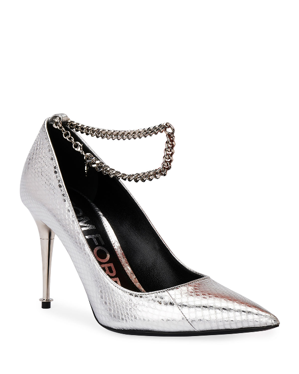 Tom Ford Laminated Snakeskin Chain Pumps In Silver