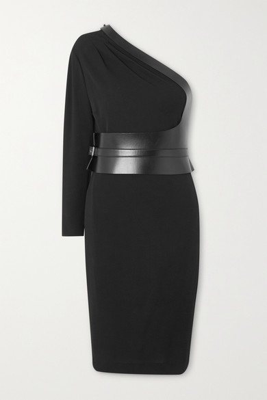 Tom Ford Sable Jersey One Shoulder Dress With Leather Belt In Black