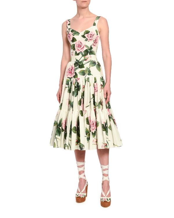 Dolce & Gabbana Floral-Print Poplin Corset Top In White Pattern
