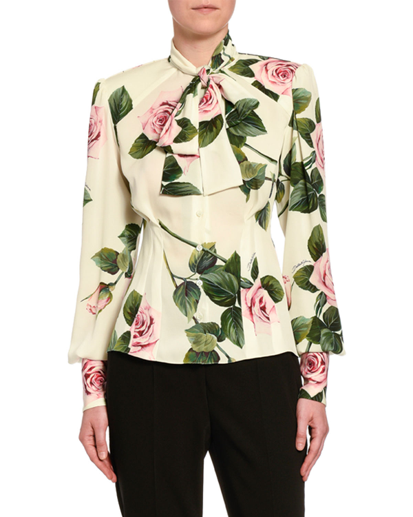Dolce & Gabbana Rose-Print Cady Button-Front Blouse In White Pattern